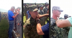 Adams, Griffis and Whitehouse receive their Airborne wings