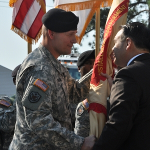 "Col. Michael Graese accepts the colors of the U.S. Army Garrison "" Fort Jackson"
