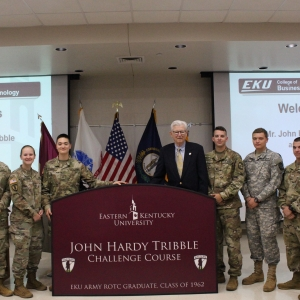Hardy Tribble with ROTC cadets